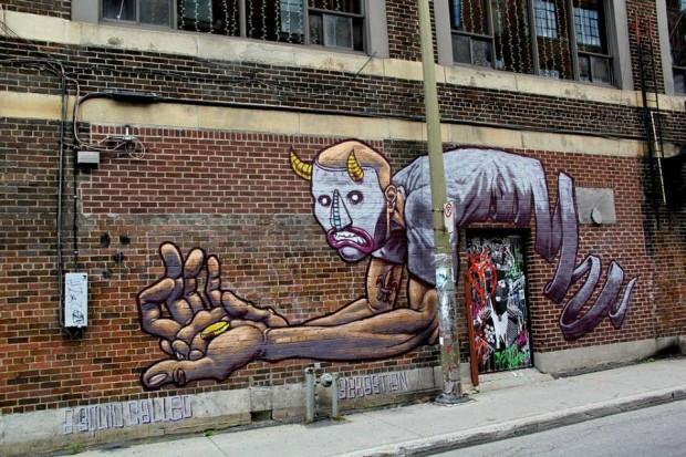 A Squid Called Sebastian & Stikki Peaches_ Mural_Art_Festival_2013_Montreal