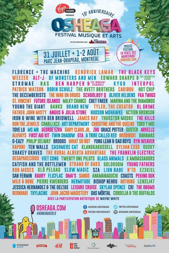 Osheaga Festival Montreal Line Up