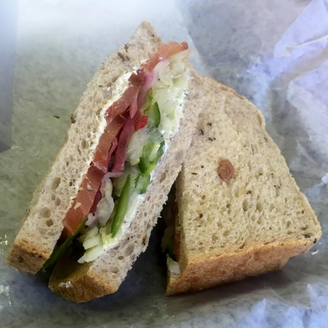 Hof Kelsten, Montreal bakery - salmon gravlax sandwich, montreal food divas