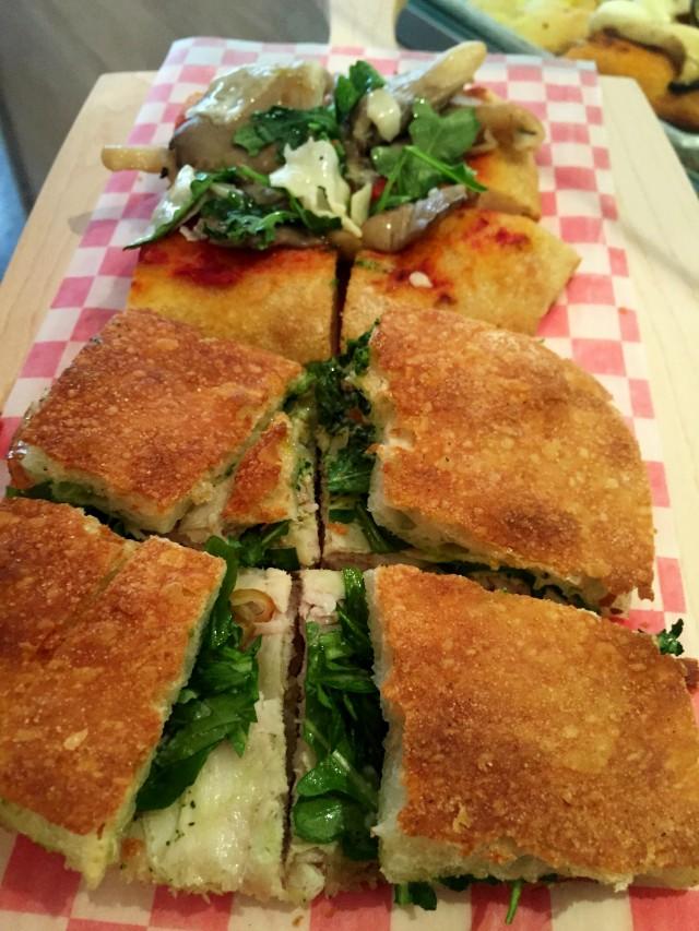 San gennaro, Montreal, Restaurant Bakery Pizza - Porchetta pizza sandwich, montreal food divas