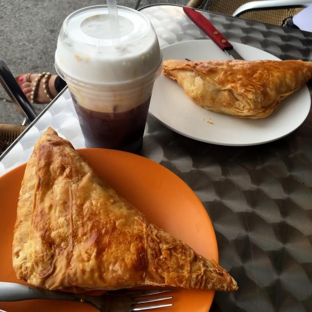 Mr.-Puffs-Laval-Tiropita-cheese-pie-and-Freddo-cappuccino-coffee Montreal Food Divas