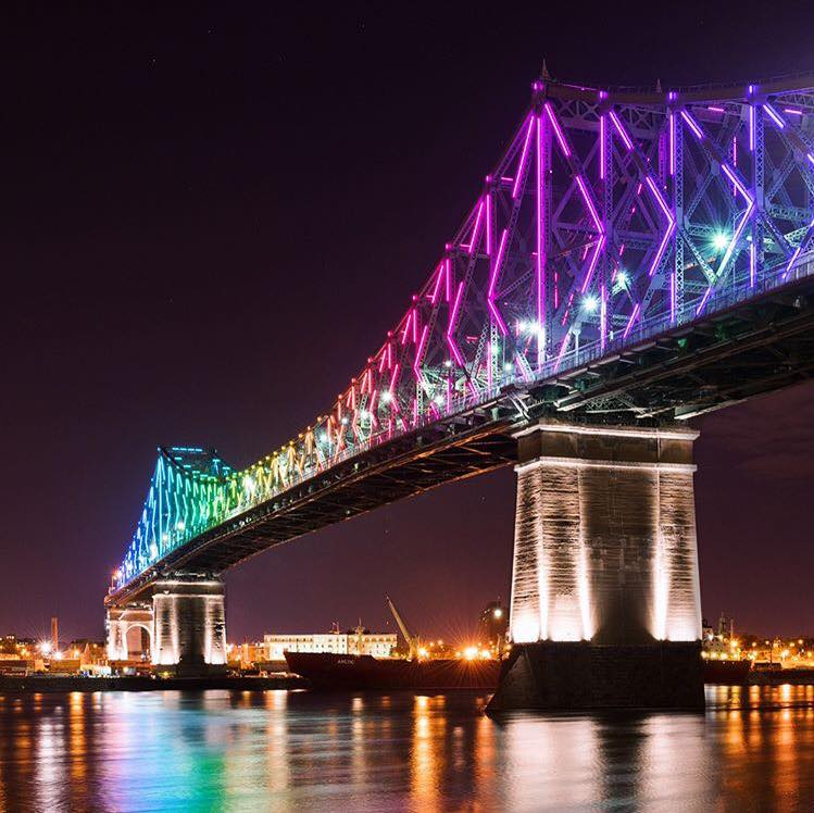 montreal 375th birthday anniversary jacques cartier light show bridge
