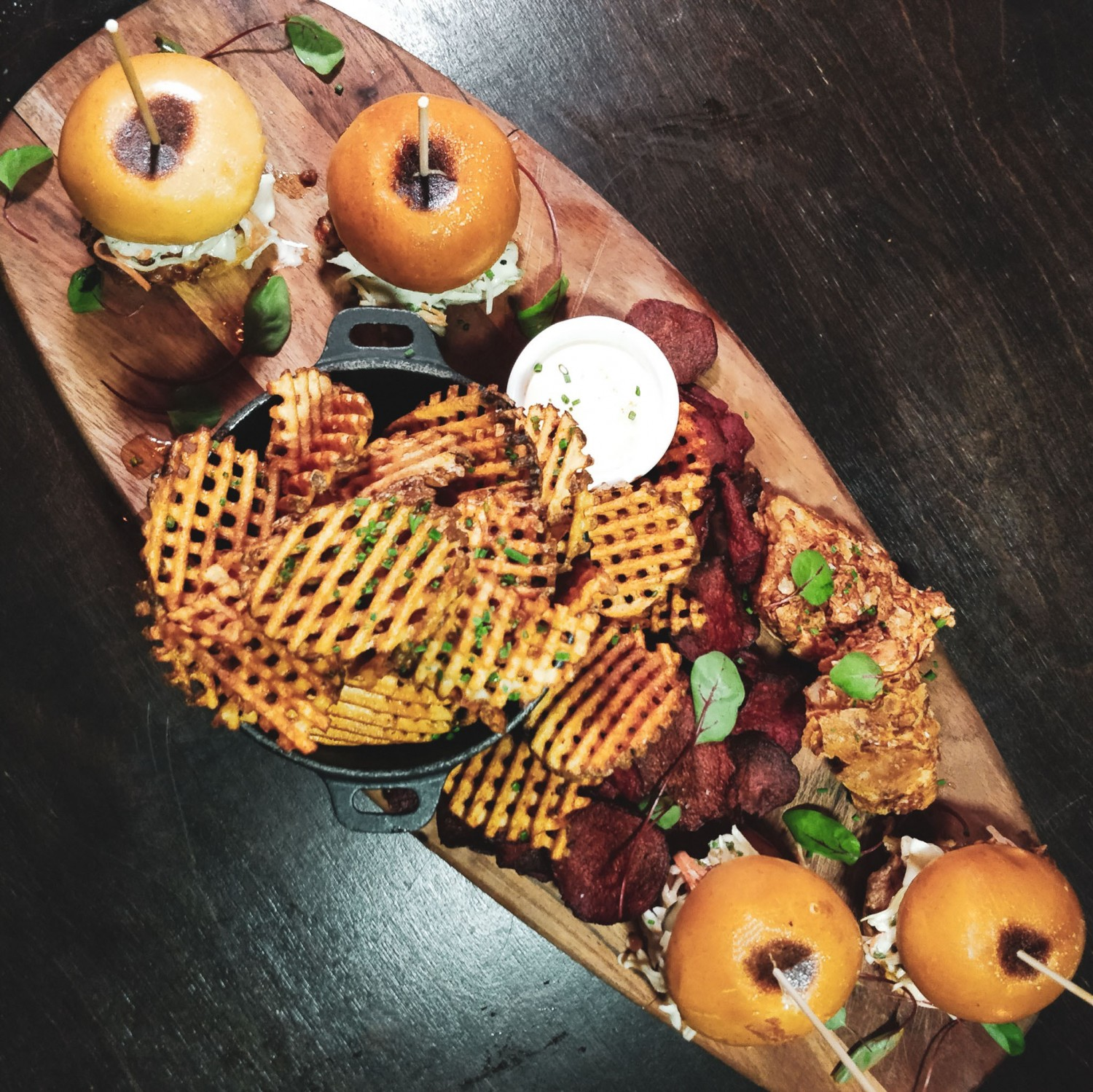chicken sliders-fish n chips - waffle chips3 - RC