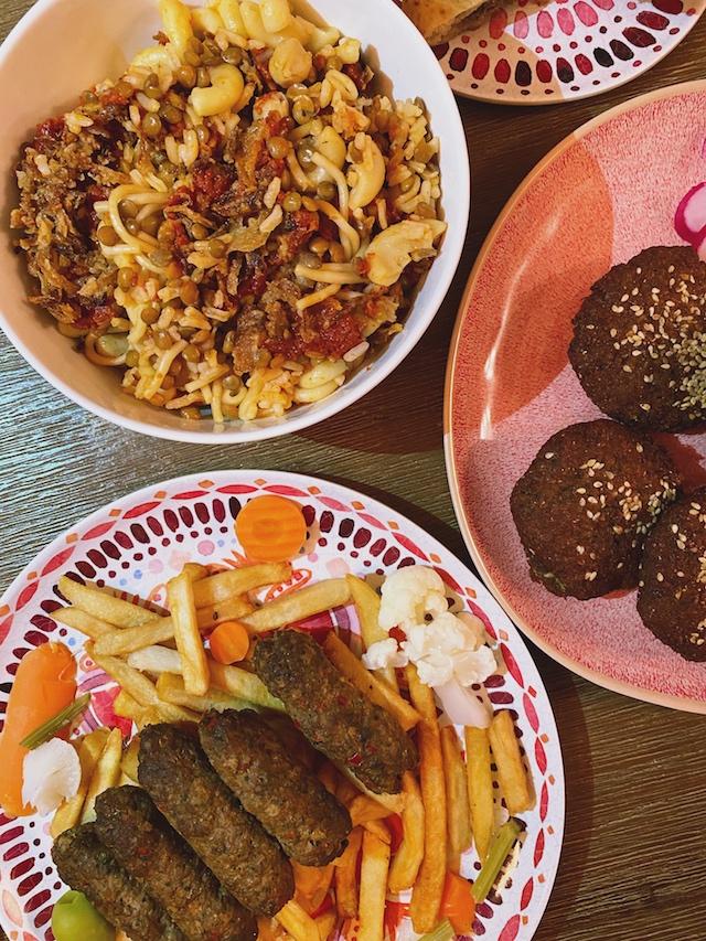 kushari, falafel, and kofta, egyptian food