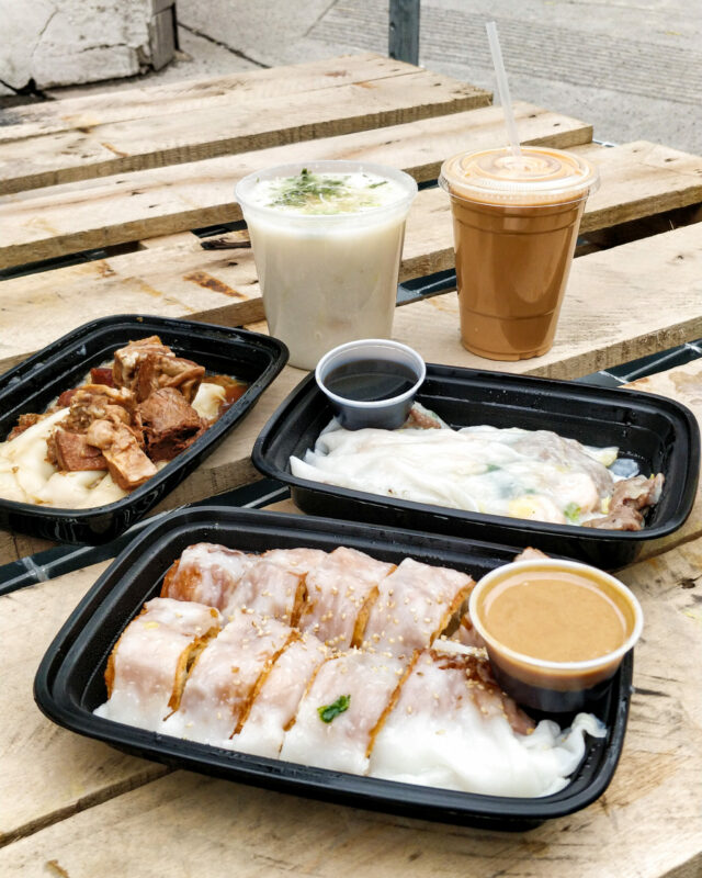 rice noodle rolls and congee